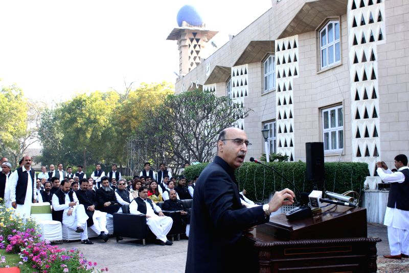 Pakistan High Commissioner to India Abdul Basit addresses during a programme organised at Pakistan High Commission in New Delhi on Pakistan National Day in New Delhi, on March 23, 2015.