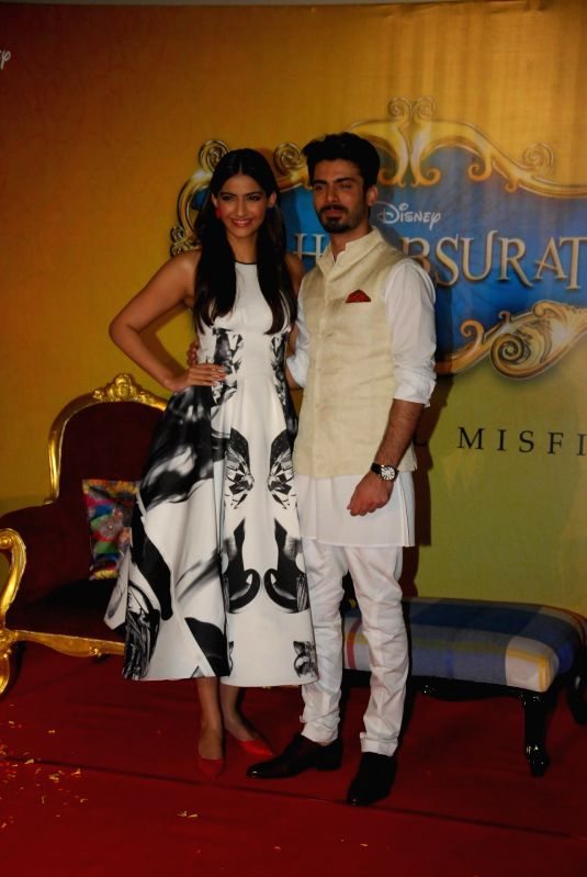 Pakistani actor Fawad Khan and actress Sonam Kapoor during the trailer launch of film Khoobsurat in Mumbai on July 21, 2014. (Photo : IANS) - Fawad Khan and Sonam Kapoor