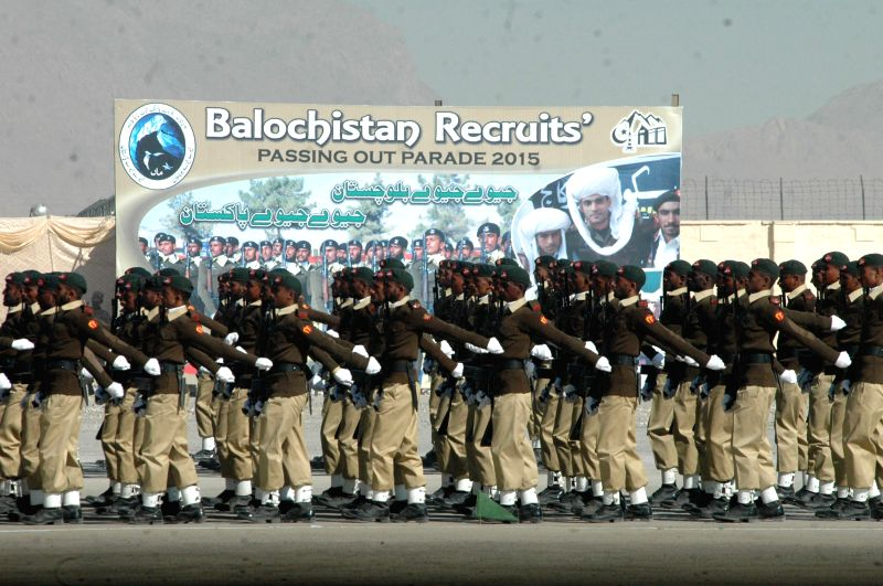Pakistani Balochistan recruit cadets march during a graduation ceremony in Quetta, southwest Pakistan, on Dec. 5, 2015. About 944 cadet officers from Balochistan ...