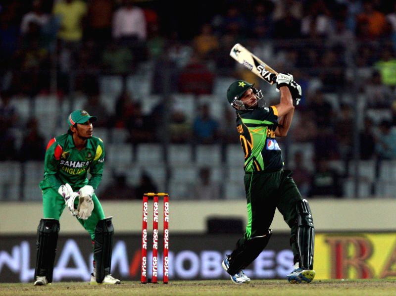 Pakistani player Shahid Afridi in action during the 8th ODI match of Asia Cup between Bangladesh and Pakistan at Shere Bangla National Stadium in Mirpur of Bangladesh on Mar.04 , 2014.