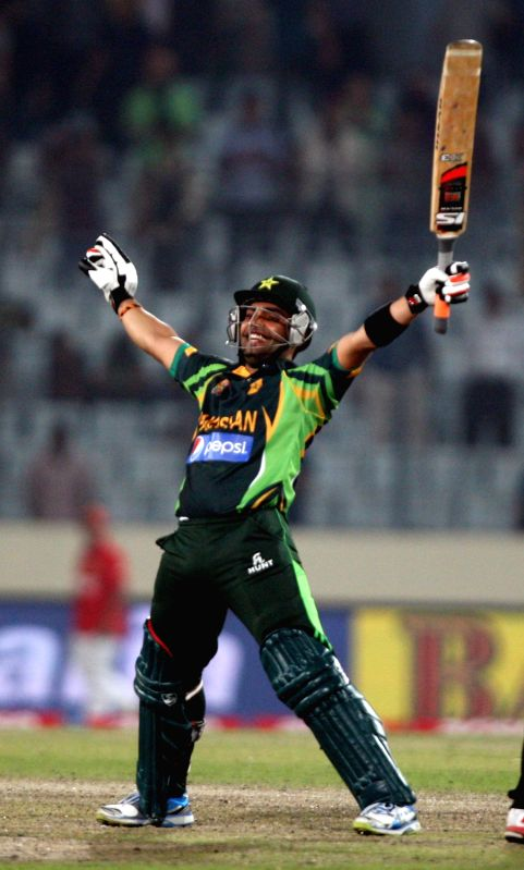 Pakistani player Umar Akmal celebrates after winning the 8th ODI match of Asia Cup against Bangladesh at Shere Bangla National Stadium in Mirpur of Bangladesh on Mar.04 , 2014.