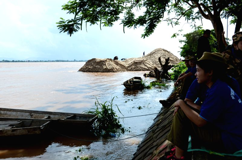 PAKSE, July 31, 2018 - Photo taken on July 30, 2018 shows the high water level in Pakse, Laos. The governor of Lao province Champasak, Bounthong Divixay, said that until Monday, the water level of ...