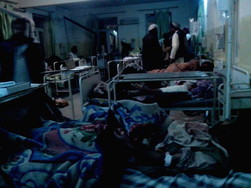 Wounded Afghans receive medical treatment at a hospital in Paktika, eastern Afghanistan, on Nov. 23, 2014. At least 45 people were killed and 60 others wounded after a suicide bomb attack ...