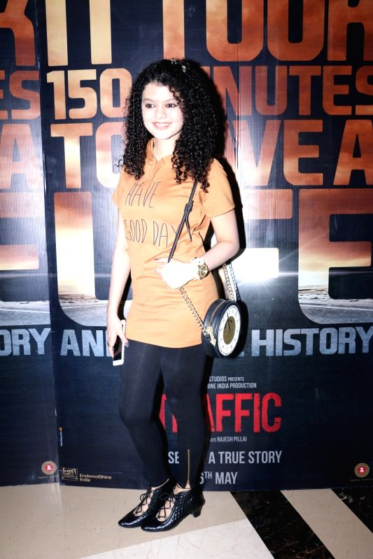 Palak Muchhal during the screening of film Traffic in Mumbai on May 5, 2016.