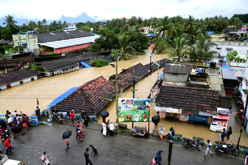 : Palakkad: A view of the flood hit Palakkad, Kerala on Aug 9, 2018. (Photo: IANS).