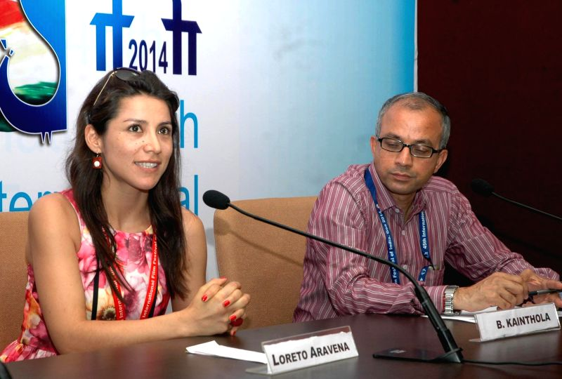 Actress Loreto Aravena of the film `I Am Not Lorena` addresses a press conference at the 45th International Film Festival of India (IFFI-2014), in Panaji, Goa on Nov 24, 2014.