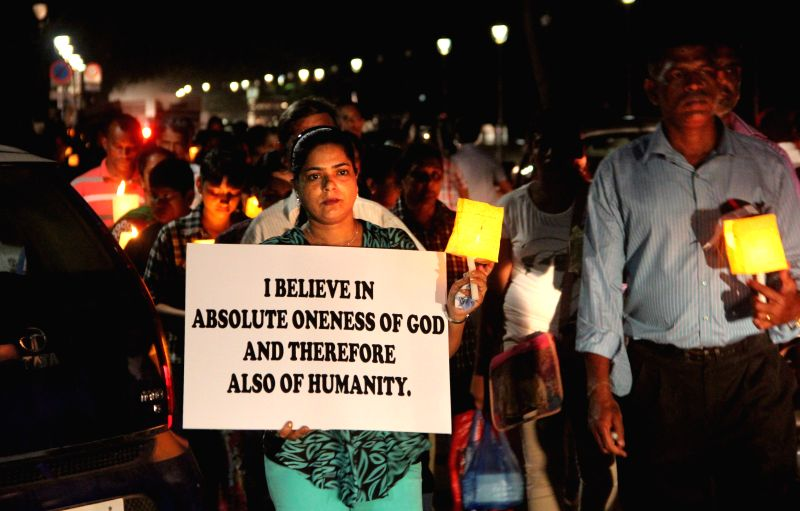 Christians during a rally organised by St Inez Church of Panaji to protest against the attacks on Churches and Christian people in Mumbai and other parts of the country in Panaji on April 1, ...