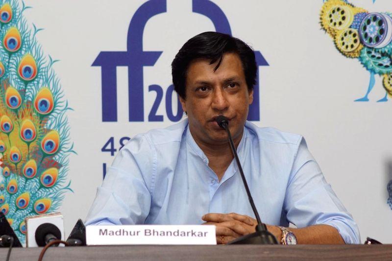 Panaji:  Filmmaker Madhur Bhandarkar addresses a press conference on BRICS Film Making Programme, during the 48th International Film Festival of India (IFFI-2017), in Panaji, Goa on Nov 23, 2017.