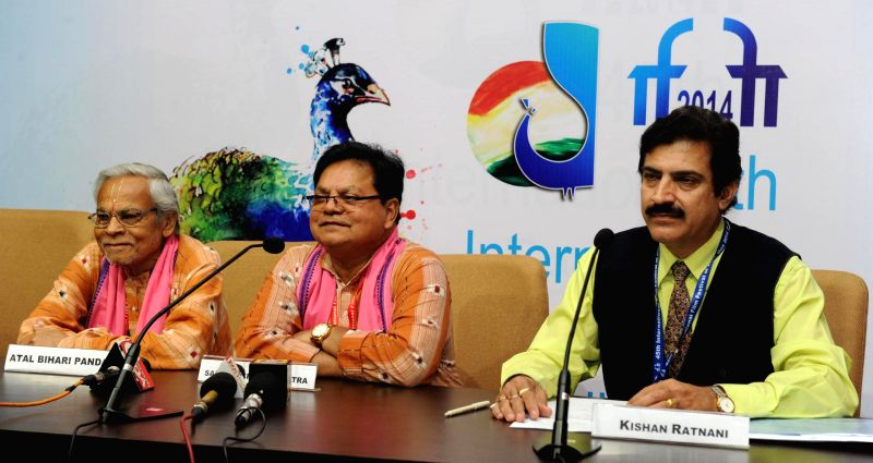 Fimmaker Sabyasachi and actor Atal Bhari Panda of `ADIM VICHAR` during a press conference, at the 45th International Film Festival of India (IFFI-2014), in Panaji, Goa on November 26, 2014.