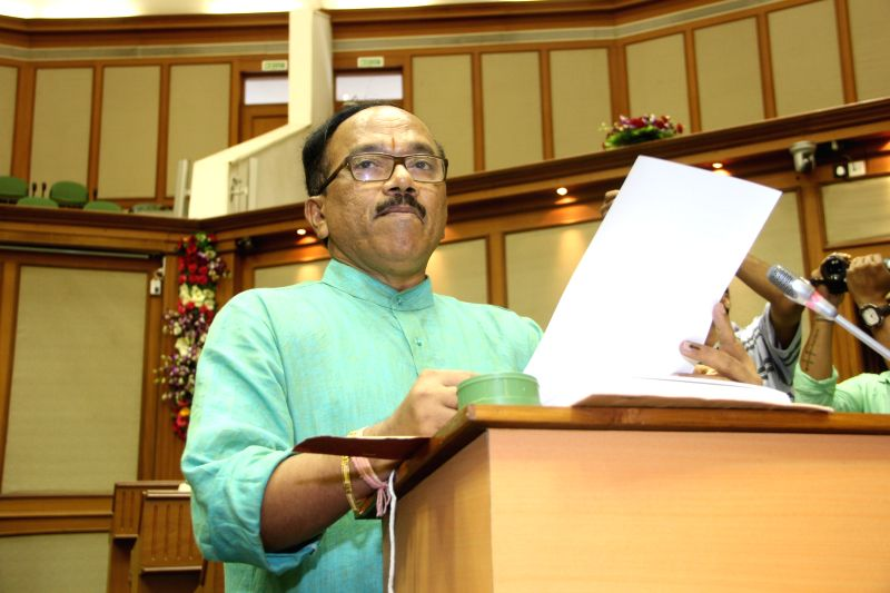 Goa Chief Minister Laxmikant Parsekar presents state budget for 2015-16 in the state assembly, in Panaji on March 25, 2015. - Laxmikant Parsekar