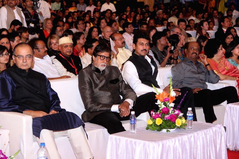(L to R) Indian Finance Minister and Minister of Information and Broadcasting Arun Jaitley, actor Amitabh Bachchan, BJP leader Col. Rajvardhan Rathore and actor Rajnikant at the inauguration . - Amitabh Bachchan and Arun Jaitley