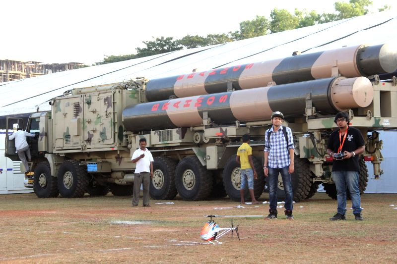 Mobile autonomous launcher for BrahMos with Missile along with other Military weapons has been kept for display on the eve of 4th Bharatiya Vigyan Sanmelan and Expo 2015 in Panaji on Feb. 4, .