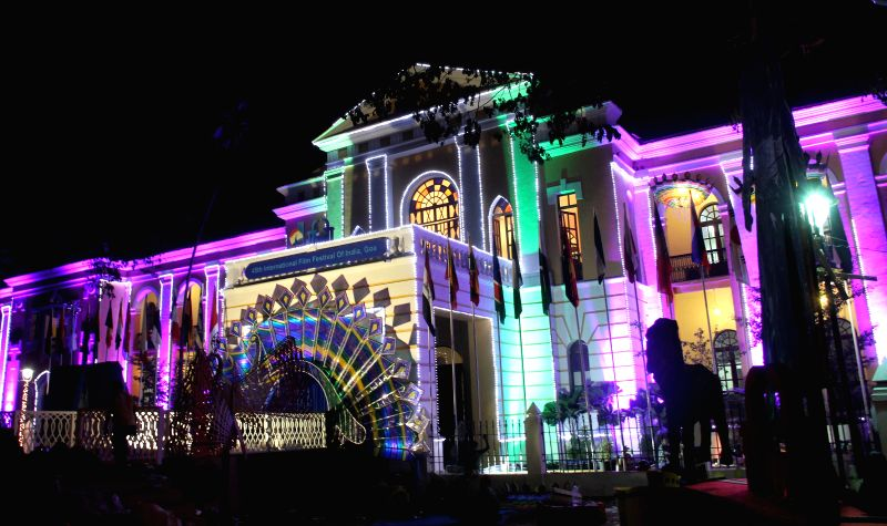 Old Goa Medical College (GMC) which is now IFFI office been illuminated on the eve of inauguration of 45th International Film Festival Of India, in Panaji, Goa on Nov. 19, 2014.
