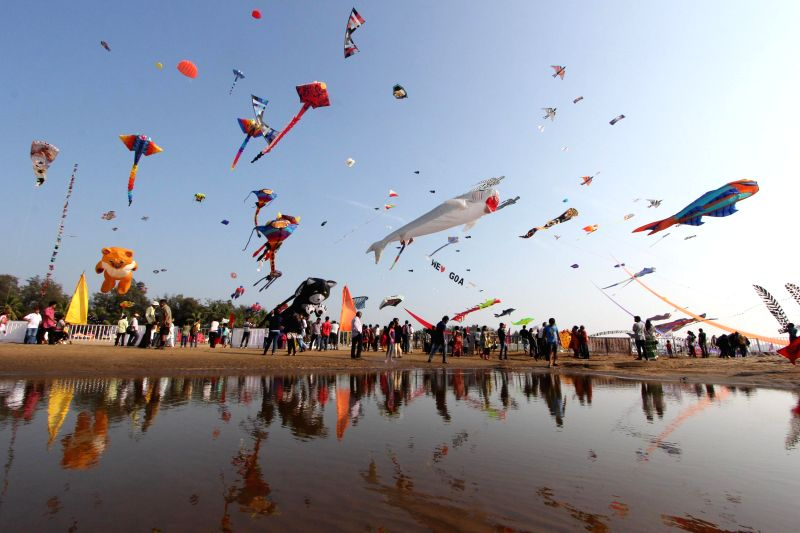 People participate in a kite festival organised at Miramar beach in Panaji on Feb 18, 2015.