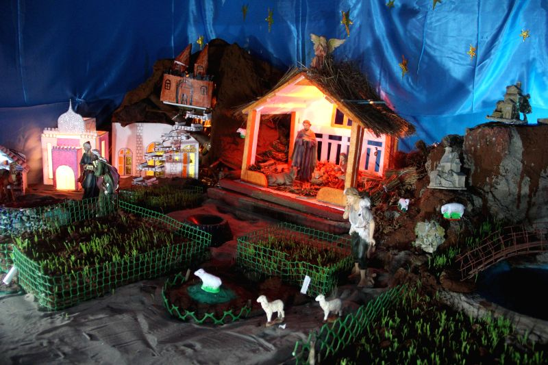 The nativity scene at Panaji Church on the eve of Christmas on Dec 24, 2014.