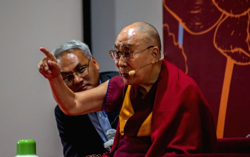 ": Panaji: Tibetan spiritual leader the Dalai Lama addresses on ""Today's Relevance of India's Ancient Knowledge"" at the 25th anniversarycelebrations of Goa Institute of Management (GIM), in ..."