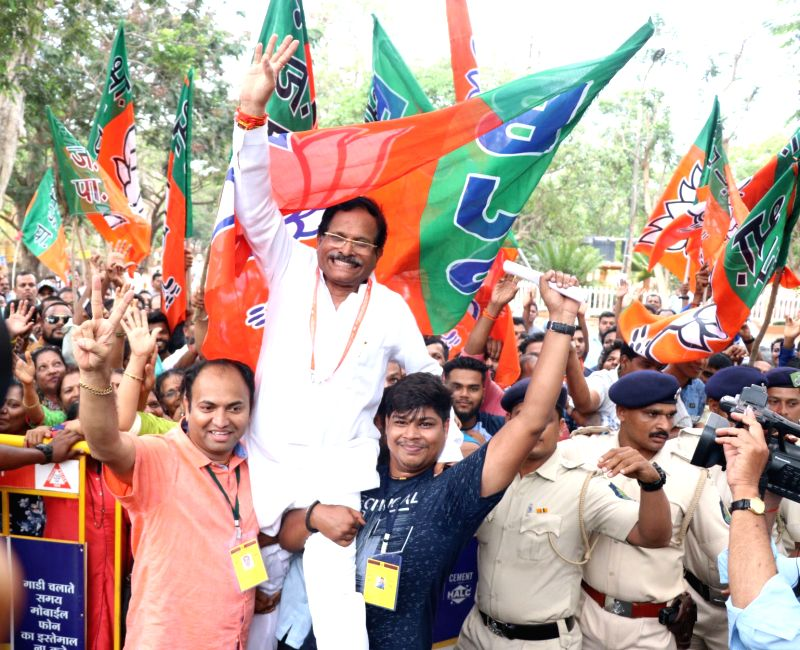 Panaji: Union Minister and BJP Lok Sabha candidate Shripad Yesso Naik, celebrates as he leads from North Goa constituency during a counting of votes in the recently concluded 2019 Lok Sabha elections, in Panaji, on May 23, 2019. (File Photo)