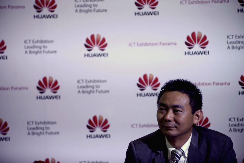 Brad Xuan, Huawei's Regional Manager in Panama, attends a press conference in Panama City, capital of Panama, on July 29, 2014. International telecommunications