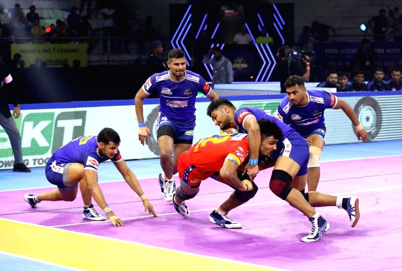 Panchkula: Players in action during Pro Kabaddi Season 7 match between U.P. Yoddha and Haryana at Tau Devilal Sports Complex in Panchkula on Sep 28, 2019. (Photo: IANS)