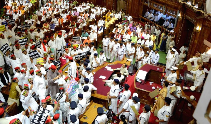 Pandemonium in the Uttar Pradesh Assembly in Lucknow on May 15, 2017.