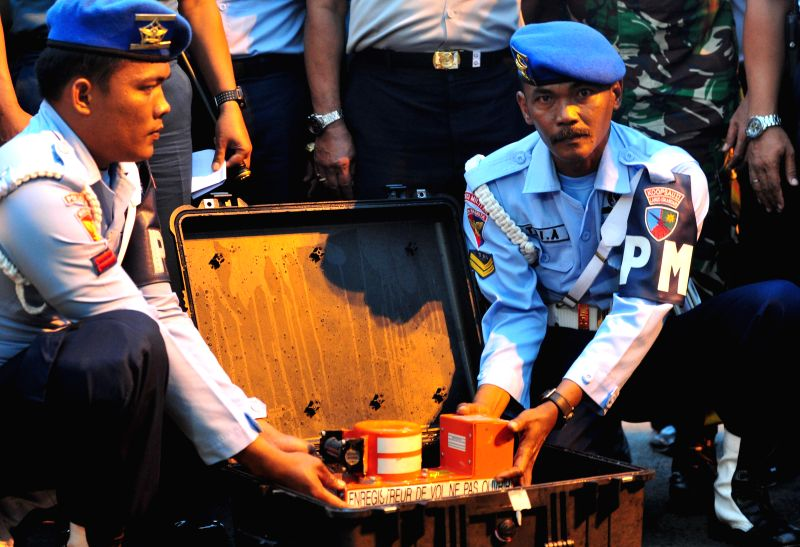 The cockpit voice recorder (CVR) is shown to media at Iskandar air force base, Pangkalan Bun, Central Borneo, Indonesia, Jan. 13, 2015. A senior official from