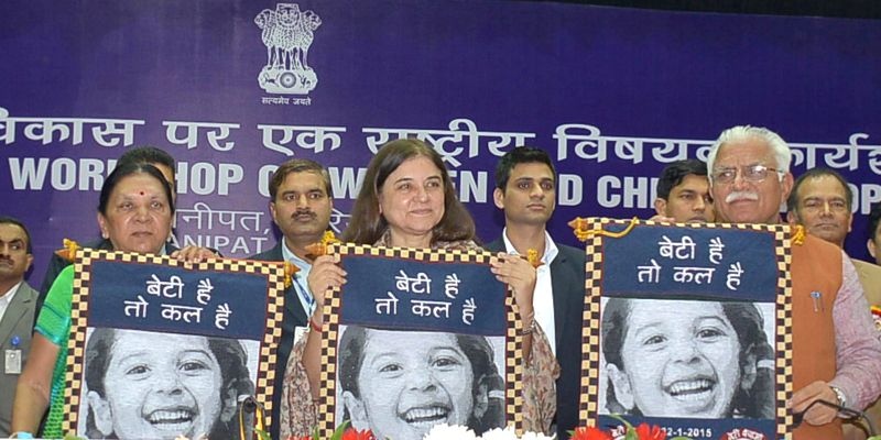 Union Minister for Women and Child Development, Maneka Sanjay Gandhi, Haryana Chief Minister Manohar Lal Khattar and Gujarat Chief Minister Anandiben Patel release the scroll `Beti hai to ... - Manohar Lal Khattar, Maneka Sanjay Gandhi and Anandiben Patel