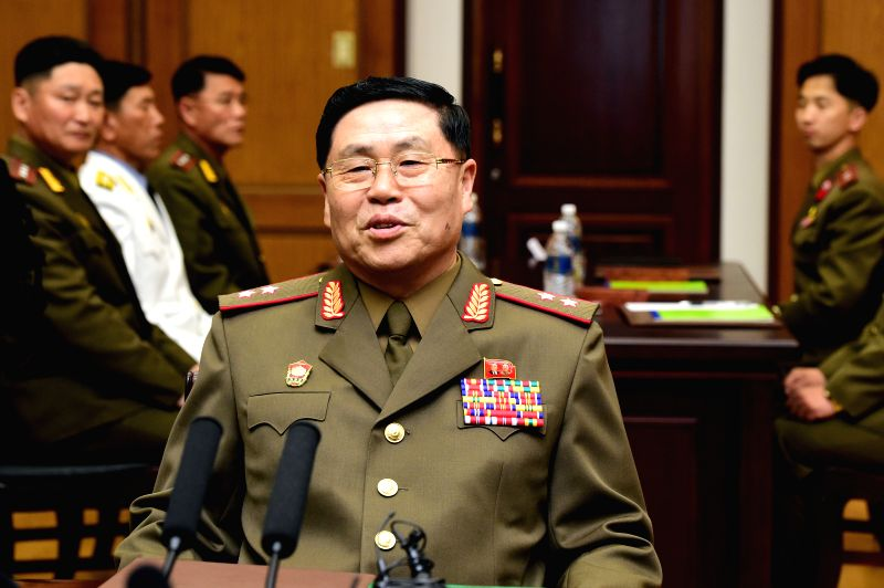 PANMUNJOM, June 14, 2018 - Lt. Gen. An Ik-san of the Democratic People's Republic of Korea (DPRK) attends the general-level military talks with South Korea at Tongilgak, a DPRK building in the truce ...
