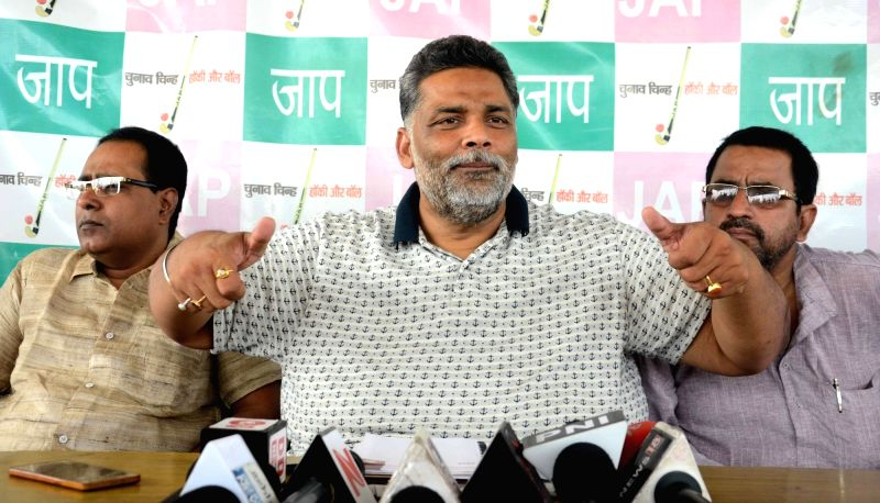 Pappu Yadav addresses a press conference in Patna, on June 1, 2017. - Pappu Yadav