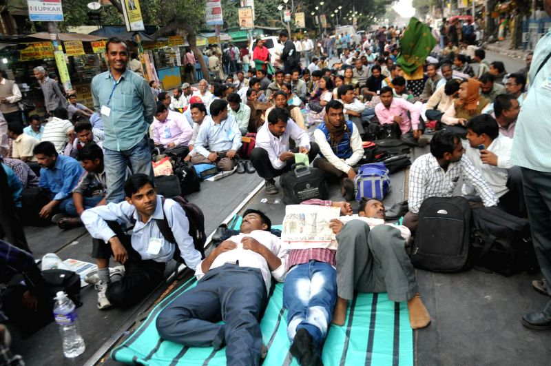 Para teachers stage a demonstration against West Bengal Government in Kolkata, on Feb 13, 2015.