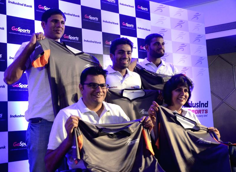 Paralympic athletes during a press conference in Mumbai on April 7, 2016.