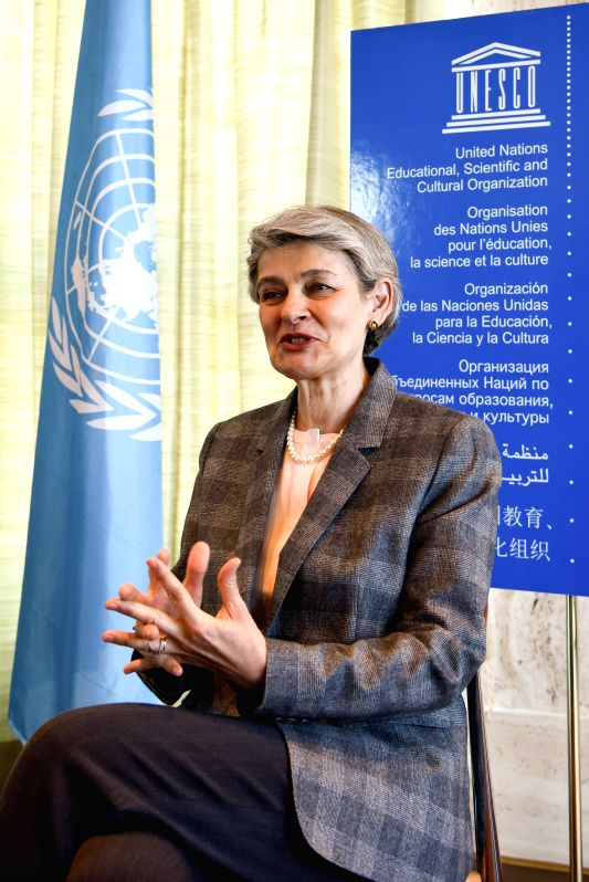 PARIS, April 19, 2017 - Irina Bokova, Director-General of the United Nations Educational, Scientific and Cultural Organization (UNESCO), is interviewed with Xinhua in Paris, capital of France, on ...