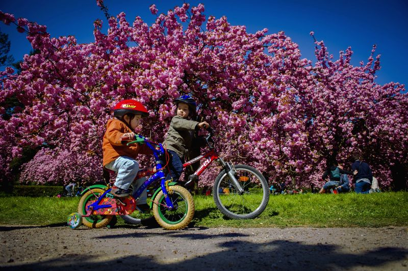 Children ride bikes in Paris, France, on April 19, 2015, three days ahead of the 46th World Earth Day.