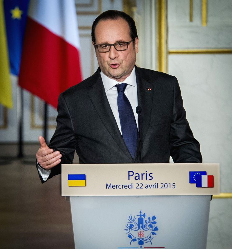 French President Francois Hollande speaks on a press conference with Ukrainian President Petro Poroshenko (not in the picture) in Paris, France, April 22, 2015. ...