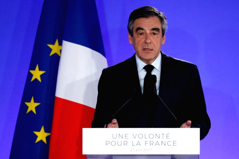 PARIS, April 23, 2017 - Francois Fillon, The Republicans (Les Republicans) party presidential candidate, delivers a speech at a rally after the first round of French presidential election in Paris, ... - Francois Fillon
