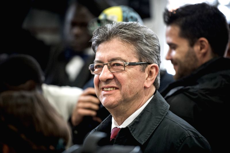 PARIS, April 23, 2017 - Jean-Luc Melenchon, far-left  presidential candidate, prepares to cast his ballot during the French presidential election at a polling station in Paris, France, April 23, ...