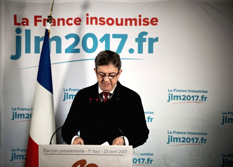 PARIS, April 23, 2017 - Jean-Luc Melenchon, far-left presidential candidate, delivers a speech at a rally after the first round of the French presidential election in Paris, France on April 23, 2017. ...