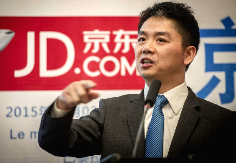 Liu Qiangdong, CEO of e-commerce company JD.com, speaks during the launch ceremony of the French goods department of JD.com, in Paris, France, Feb. 3, 2015. ...
