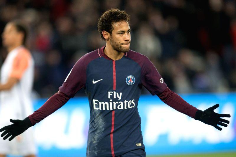 PARIS, Jan. 28, 2018 - Neymar of Paris Saint-Germain celebrates scoring during the French Ligue 1 match against Montpellier in Paris, France on Jan. 27, 2018. Paris Saint-Germain won 4-0.