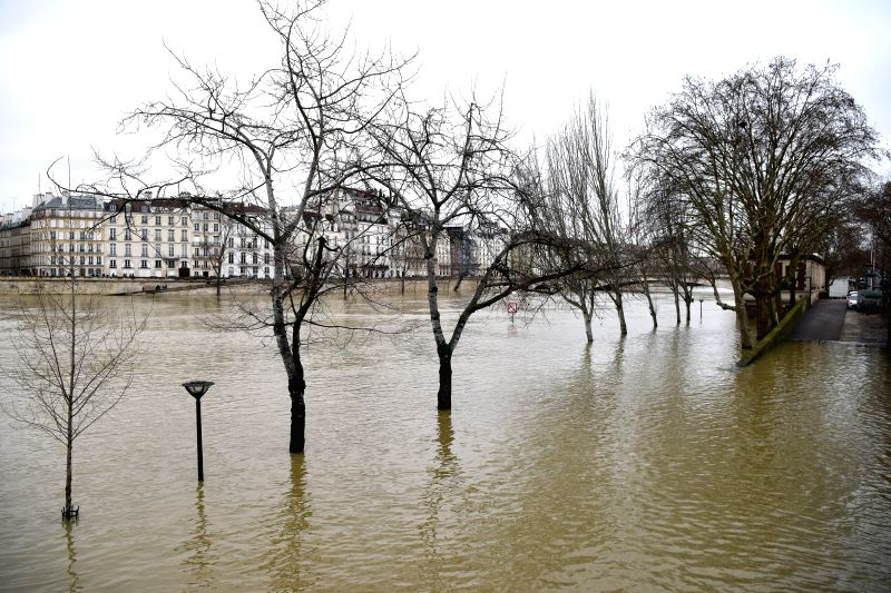 PARIS, Jan. 28, 2018 - The bank of Seine River is submerged in Paris, France on Jan. 28, 2018. The Seine river, which runs through Paris, kept rising on Sunday and had led to the evacuation of about ...