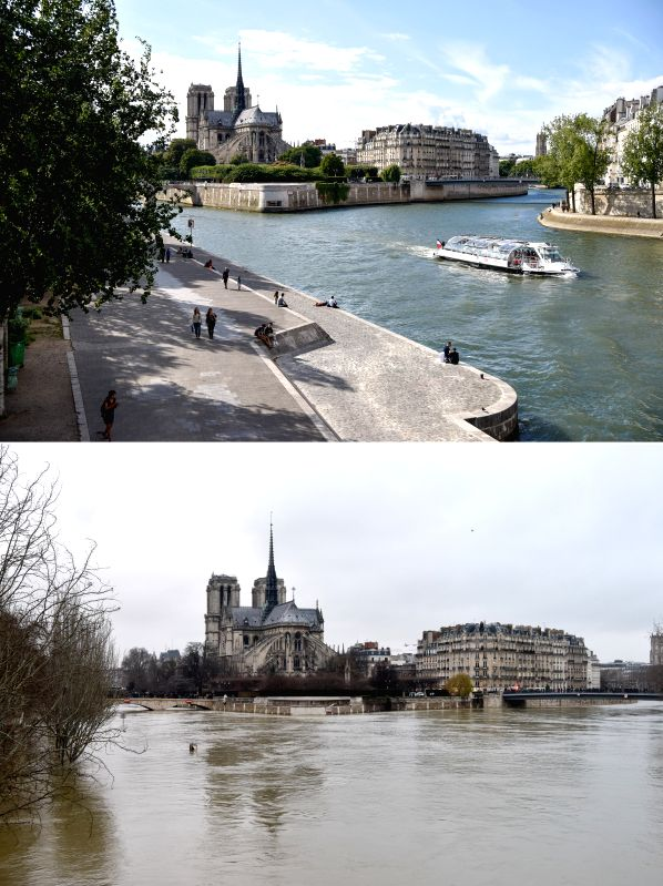PARIS, Jan. 28, 2018 - The combined photo shows the Seine River beside Notre-Dame on July 25, 2017 (top) and on Jan. 28, 2018 in Paris, France. The Seine river, which runs through Paris, kept rising ...