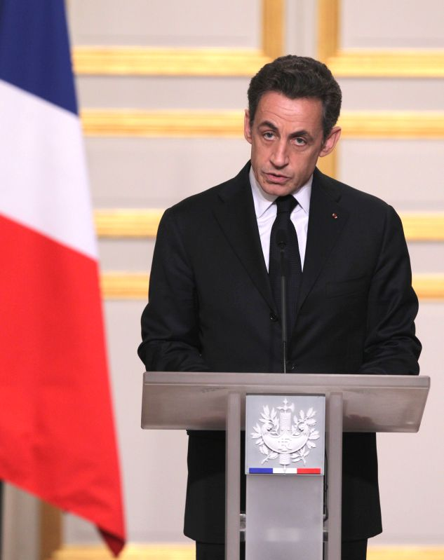 File photo taken on March 19, 2011 shows former French president Nicolas Sarkozy announcing the statement about Libya crisis at the Elysee Palace in Paris. Former ...