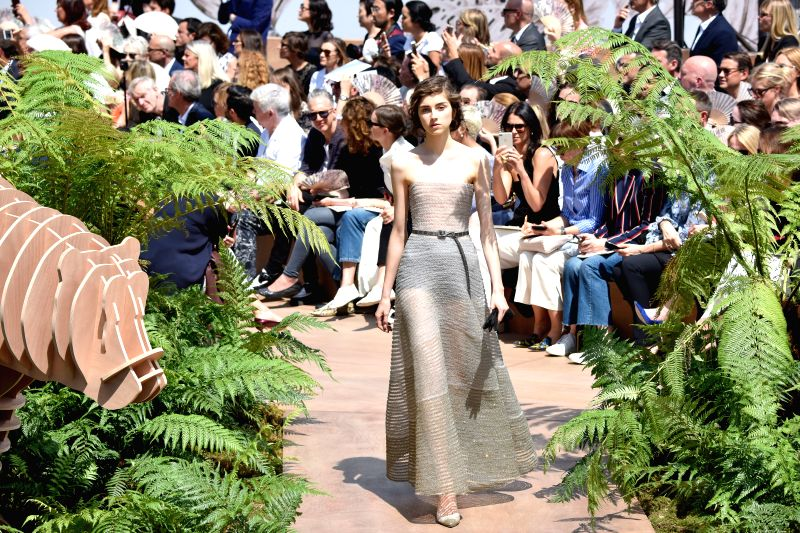A model presents creations of Christian Dior