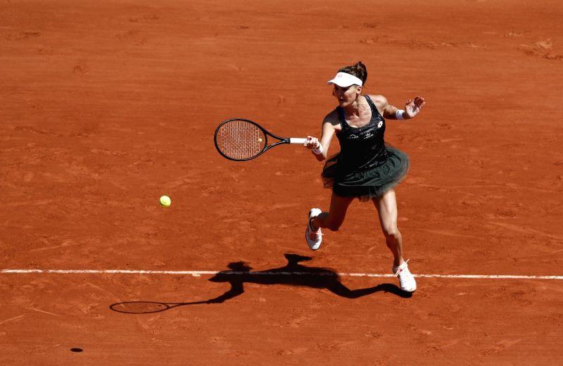 PARIS, June 1, 2017 - Agnieszka Radwanska of Poland competes during the women's singles second round match against Alison Van Uytvanck of Belgium at French Open Tennis Tournament 2017 in Roland ...