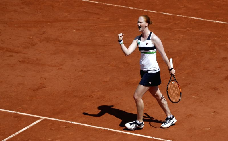 PARIS, June 1, 2017 - Alison Van Uytvanck of Belgium competes during the women's singles second round match against Agnieszka Radwanska of Poland at French Open Tennis Tournament 2017 in Roland ...