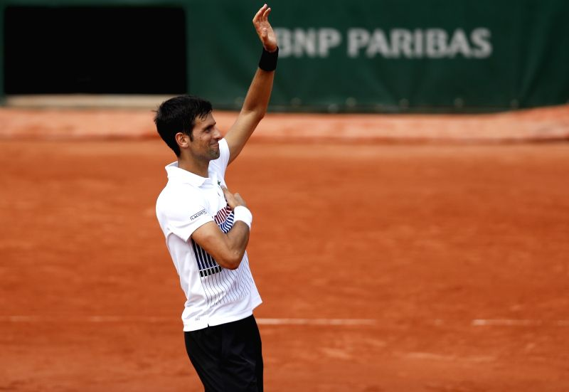 PARIS, June 1, 2017 - Novak Djokovic of Serbia celebrates after the men's singles second round match against Joao Sousa of Portugal at French Open Tennis Tournament 2017 in Roland Garros, Paris, ...