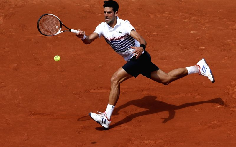 PARIS, June 1, 2017 - Novak Djokovic of Serbia hits a return during the men's singles second round match against Joao Sousa of Portugal at French Open Tennis Tournament 2017 in Roland Garros, Paris, ...