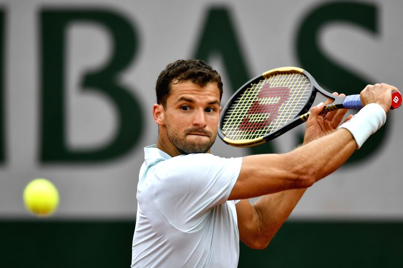 PARIS, June 1, 2018 - Grigor Dimitrov of Bulgaria returns a shot during the men's singles third round match against Fernando Verdasco of Spain at the French Open Tennis Tournament 2018 in Paris, ...