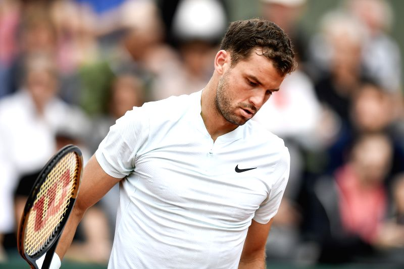 PARIS, June 1, 2018 - Grigor Dimitrov of Bulgaria is seen during the men's singles third round match against Fernando Verdasco of Spain at the French Open Tennis Tournament 2018 in Paris, France on ...