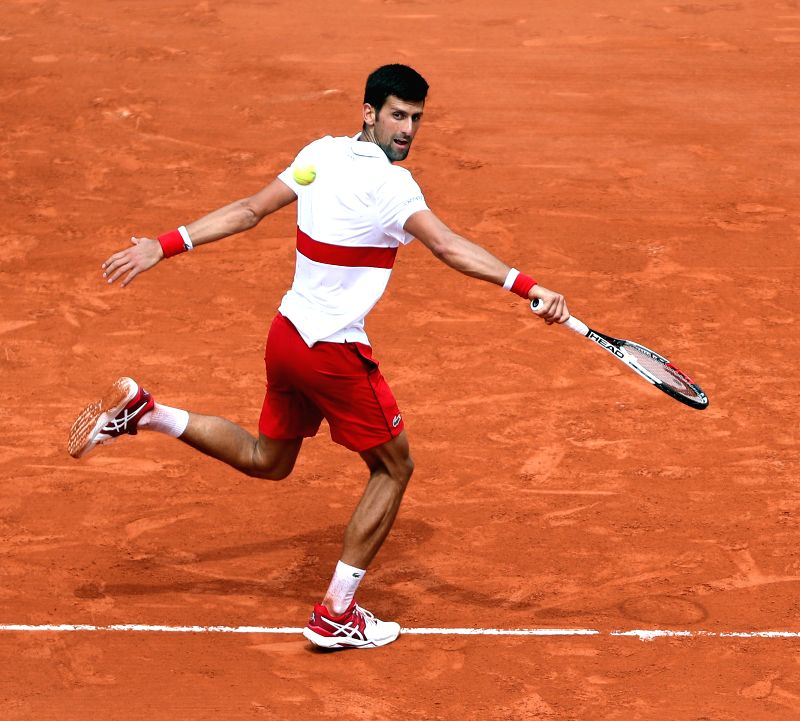 PARIS, June 1, 2018 - Novak Djokovic of Serbia returns a shot during the men's singles third round match against Roberto Bautista Agut of  Spain at the French Open Tennis Tournament 2018 in Paris, ...