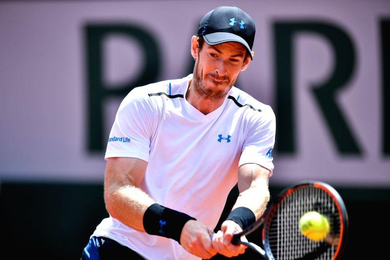 PARIS, June 10, 2017 - Andy Murray of Britain returns the ball during the men's singles semifinal against Stan Wawrinka of Switzerland at the French Open Tennis Tournament 2017 in Paris, France on ...
